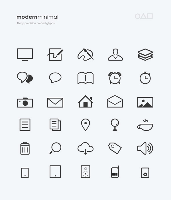 Modern Minimal 30+ Precision Crafted Vector Glyphs Icons