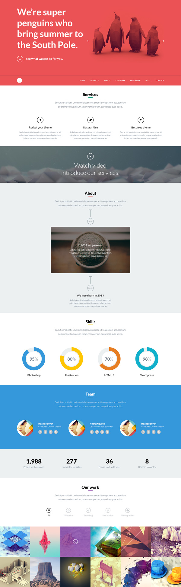 Oneengine multi purpose one page wordpress theme psd for Wordpress theme with multiple page templates