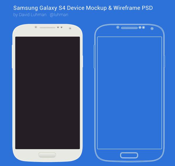 Samsung Galaxy S4 Device Mockup & Wireframe PSD