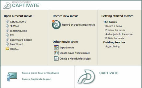 Captivate Start page