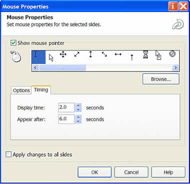 Setting the timing of the mouse action