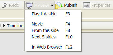 Various preview options in Captivate
