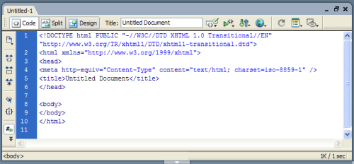 Displaying the new XHTML document in Code View