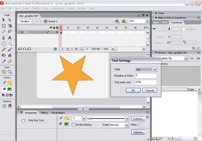 Drawing a 2D star in Flash
