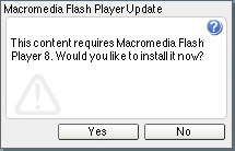 Flash Player prompting an upgrade through the new Flash Product Install process.
