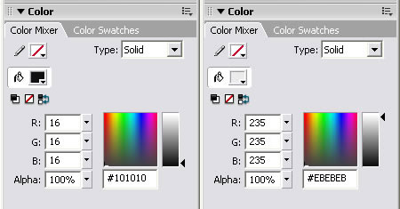 Selecting the black (left) and white (right) color gamut for television