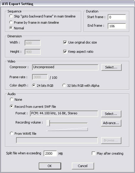 AVI Export Setting dialog box