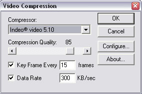 Compression, key frame, and data rate settings