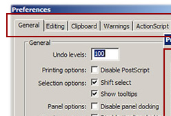 The Preferences dialog box has seen an improvement in Flash.