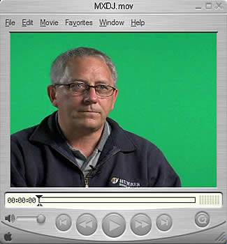Talking-head video with a green-screen background