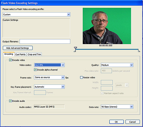 Selecting the Encode Alpha Channel option in the expanded Flash Video Encoding Settings dialog box