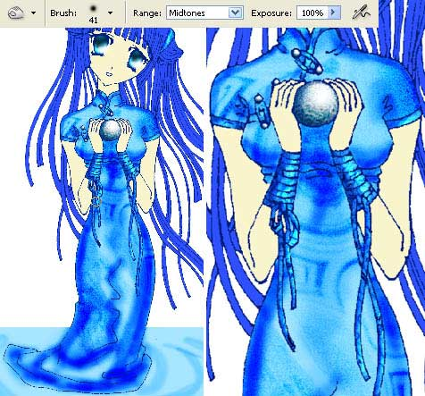 drawing Anime Water Nymph in adobe Photoshop cs