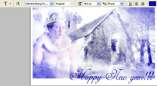 design winter postcard in adobe Photoshop cs2