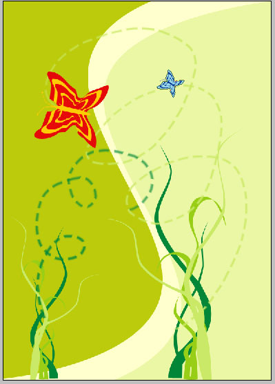Green Illustration with Butterflies in Photoshop