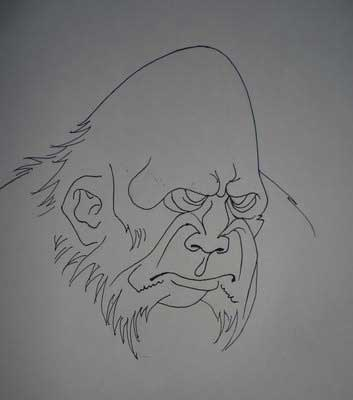 drawing gorilla in adobe photoshop cs