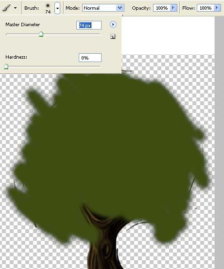 a tree with rich leafage in adobe Photoshop cs
