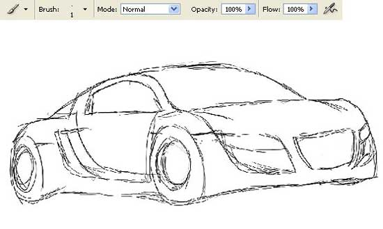 Photoshop Drawing Draw Audi car\'s sketch Tutorial