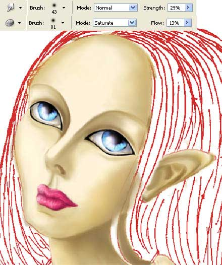 drawing Melissa elf - girl in adobe Photoshop cs2