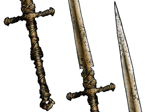 Drawing sword for lineage II game item in adobe Photoshop cs