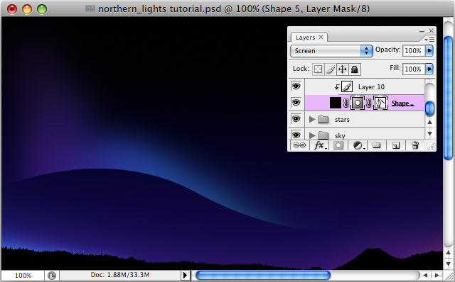 Design a colorful Northern Lights landscape - Step 12