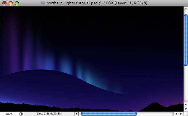 Design a colorful Northern Lights landscape - Step 16