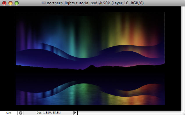 Design a colorful Northern Lights landscape - Step 33