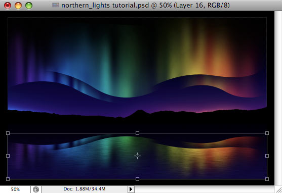 Design a colorful Northern Lights landscape - Step 34