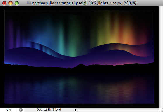 Design a colorful Northern Lights landscape - Step 36