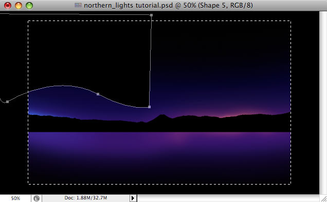 Design a colorful Northern Lights landscape - Step 9