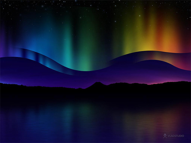 Design a colorful Northern Lights landscape - Step 1