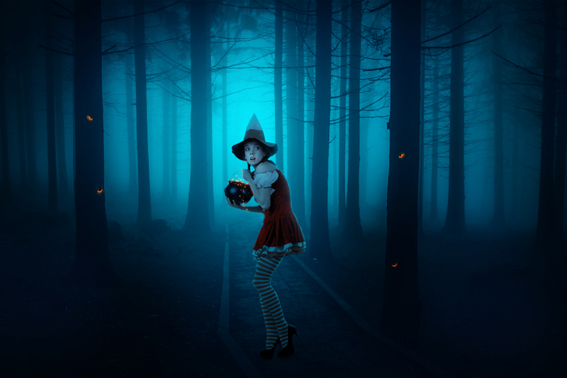 Create A Dark Photo Manipulation Of Young Witch In Forest